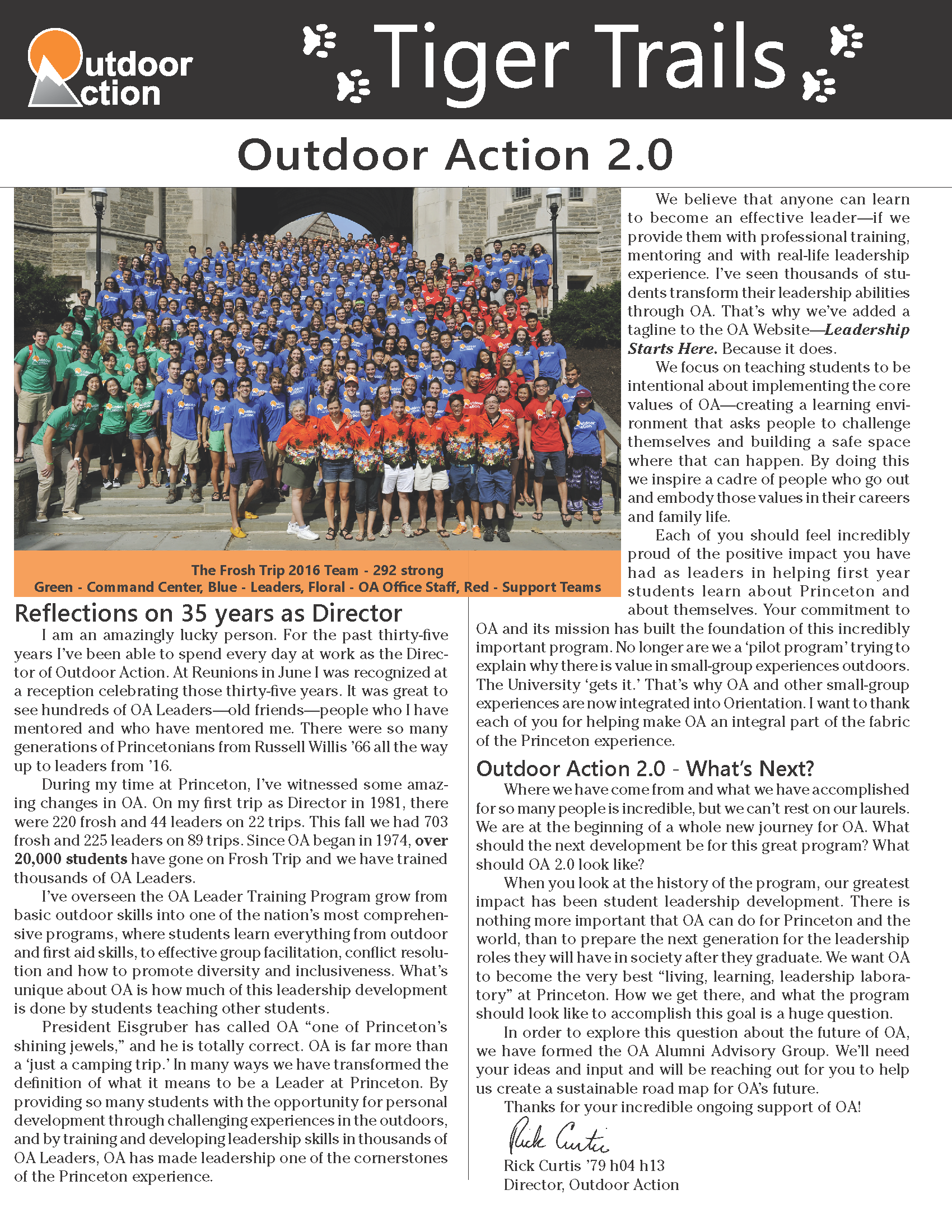 Tiger Trails newsletter page 1
