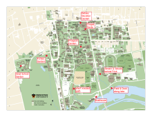 Campus map annotated with nature locations